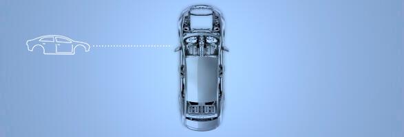 Autokarosserie von oben auf blauem Hintergrund