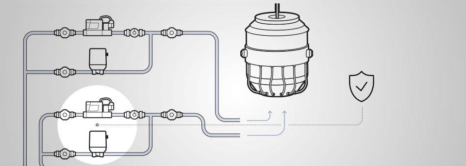 Der MFC 8745 regelt Drücke bis 25 bar. Er macht einen Hochdruck-Bypass überflüssig.