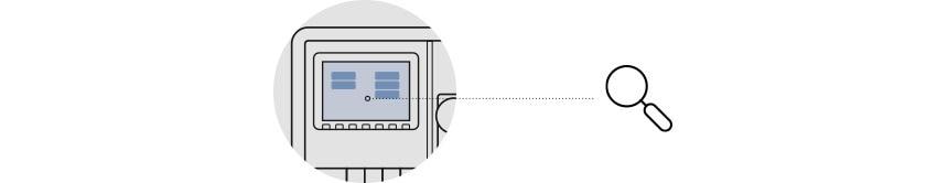 Grafische Darstellung eines Permeat-Monitoring-System, daraus ein Ausschnitt. Eine Lupe, lenkt den Blick auf das Display